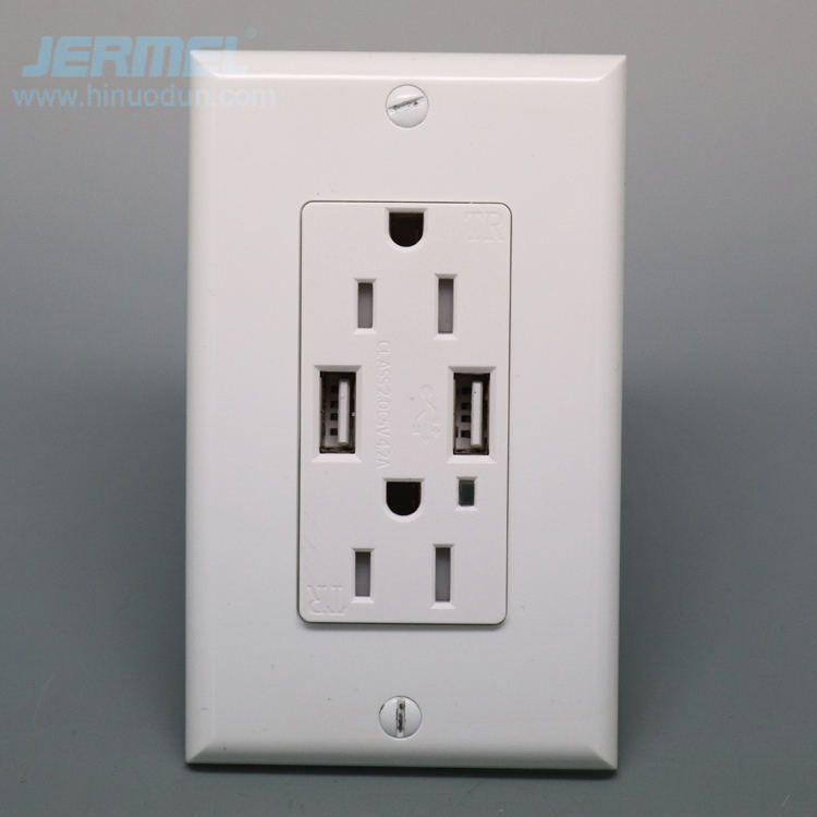 BAUS White Single Gang Duplex 125V 20A NEMA 5-20R Outlets with 3.6A USB charging ports and White Cover Plate UL//Cul Listed 1