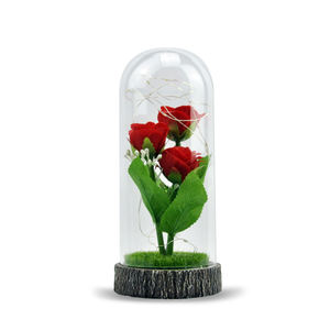 Wholesale flower rose in glass cloche domes with wooden base