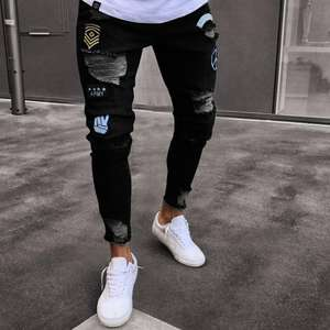 male's hip hop distressed streetwear slim zipper destroyed tapered figure flattering jeans in stock can drop shipping