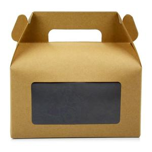 Promotion folding ODM food grade cake packaging gable top gift box brown kraft gable box custom gable box with clearly window