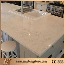 Latest kitchen slab colorful white Quartz stone top dining tables