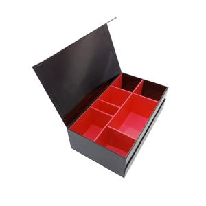 Japanese classic quintessential gloss lamination hot red stamping bento lunch cardboard black packaging box