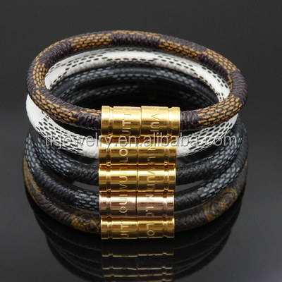 High Quality Python pattern Leather Cords Bracelet with Magnetic Snap Men's Bracelet Jewelry