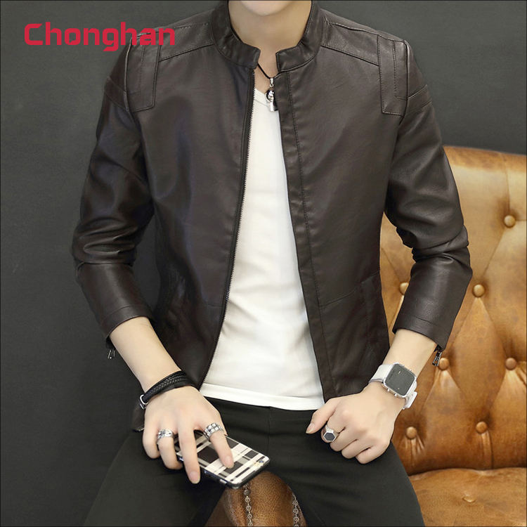 Chonghan Wholesale Brown Colour Men's Leather Jacket Stock Clothes Apparel