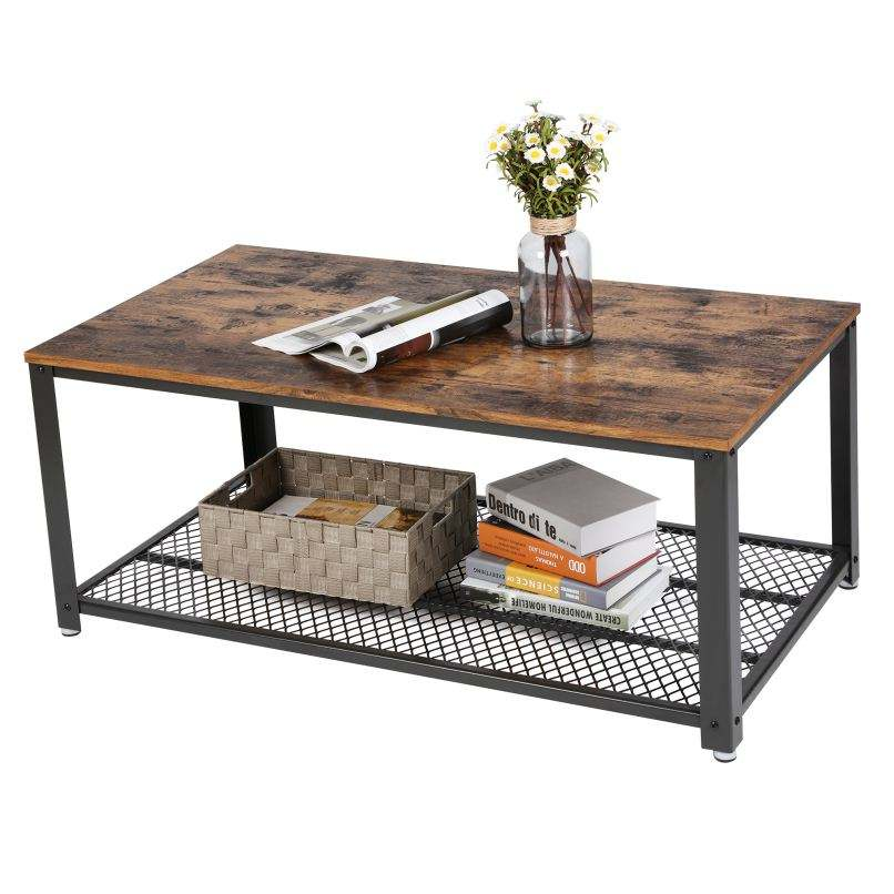 VASAGLE Furniture Wholesalers Living Room custom Rustic Wood Tea Table Metal Frame Wooden Top Coffee Table