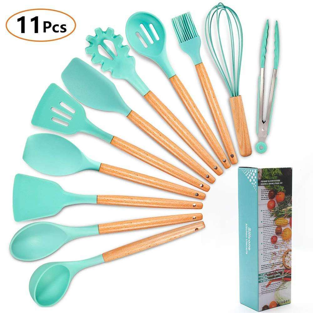 11pcs Silicone Kitchen Utensil Set withWood Handles Cooking Utensils for Non-stick Cookware Turner