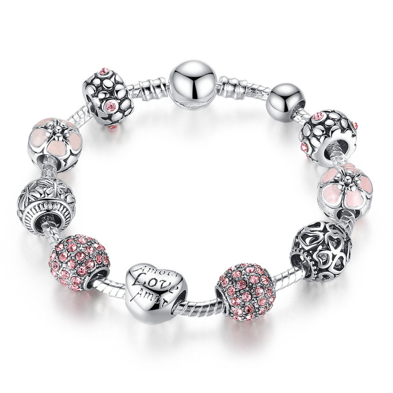 Qings 925 Sterling Silver Plated Bracelets With Pink Zircon Jewelry Fashion Bracelets