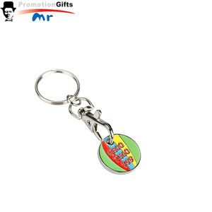 welcomed metal coin holder keychain