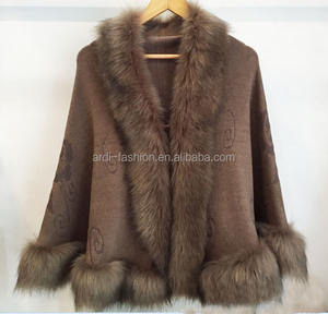 latest ladies fur trim fur collar cashmere knitted cardigan sweater