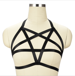 Bra 소극 harness open elastic black 스타 (energy star) 오각형 sexy