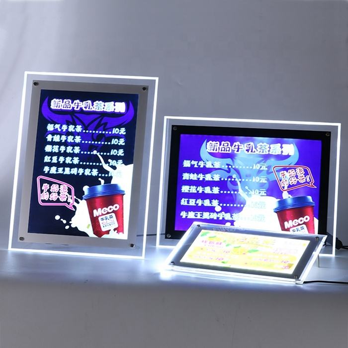 LED backlit picture frame illuminated poster acrylic crystal slim light box