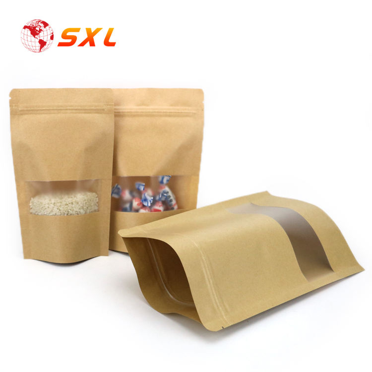 Low MOQ Spice Packaging Kraft Paper Ziplock Bags with Window