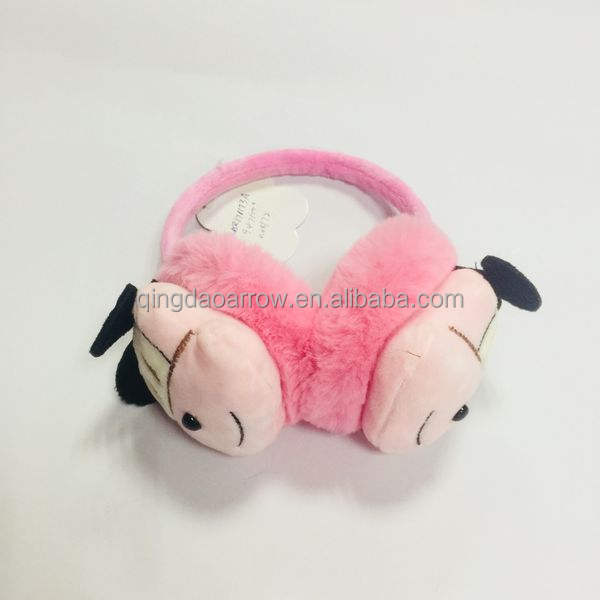 Pink Happy Valentines Day Heart Arrow Winter Earmuffs Ear Warmers Faux Fur Foldable Plush Outdoor Gift
