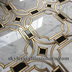 brass inlay arabescato white marble waterjet mosaic tile