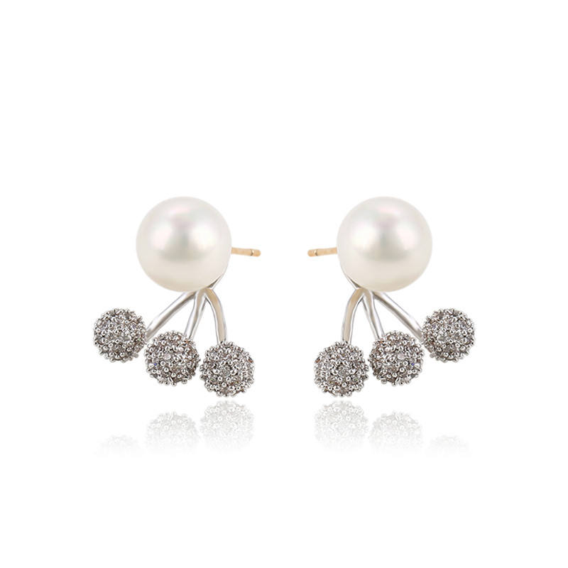 92755 Xuping wholesale elegant stylish stud earring jewelry, custom women cz fashion pearl stud earrings