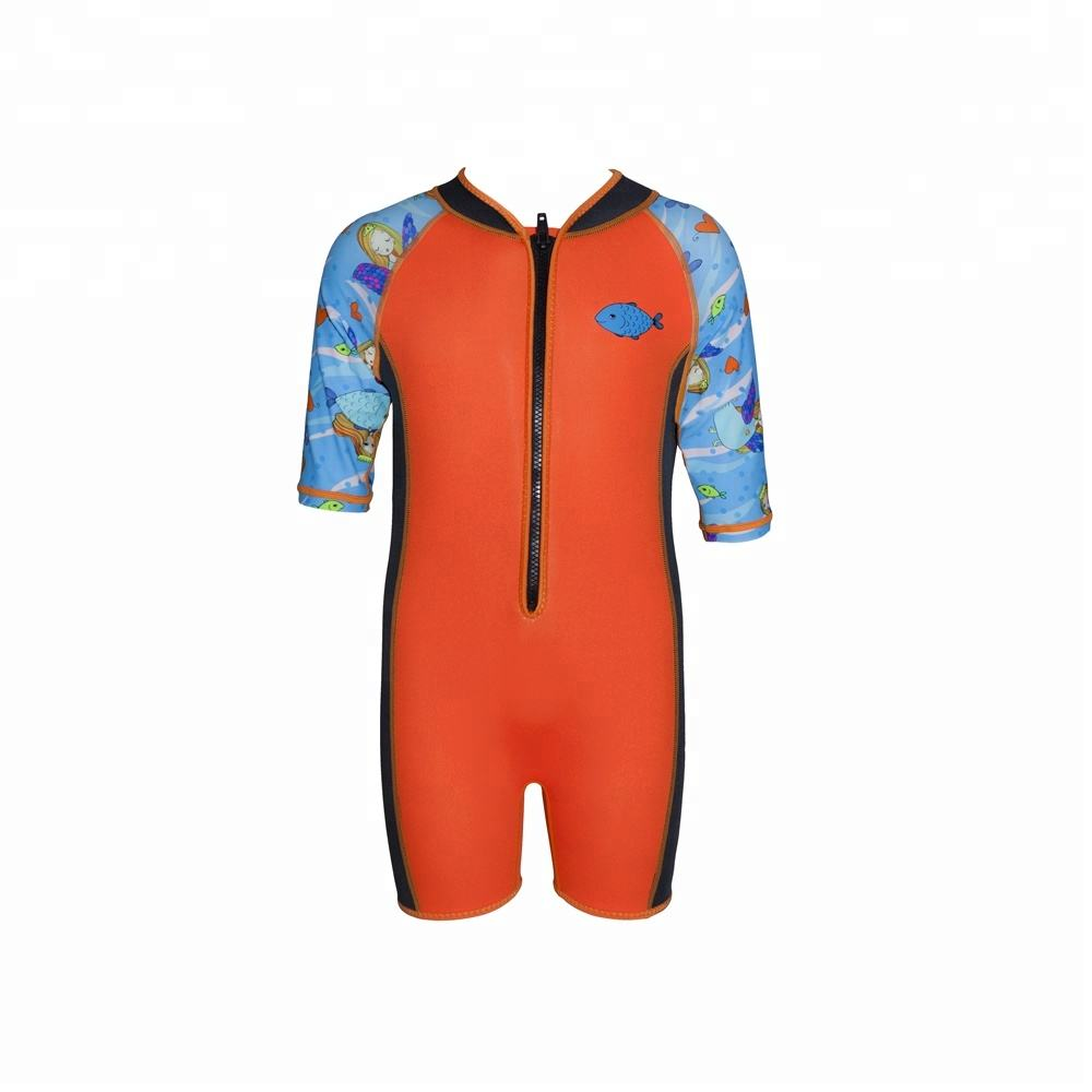 Swimming, Surfing Neoprene Shorty Wetsuit for Girls with Frontzip
