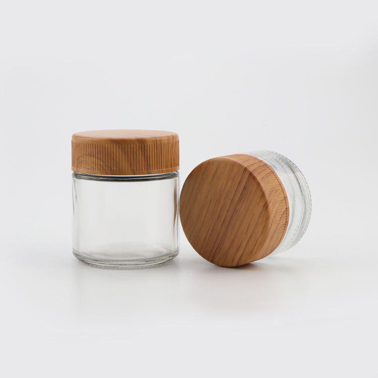 Manufacture 1oz 2oz 3oz 4oz clear candy round containers straight-sided spice glass jars with wood lid storage