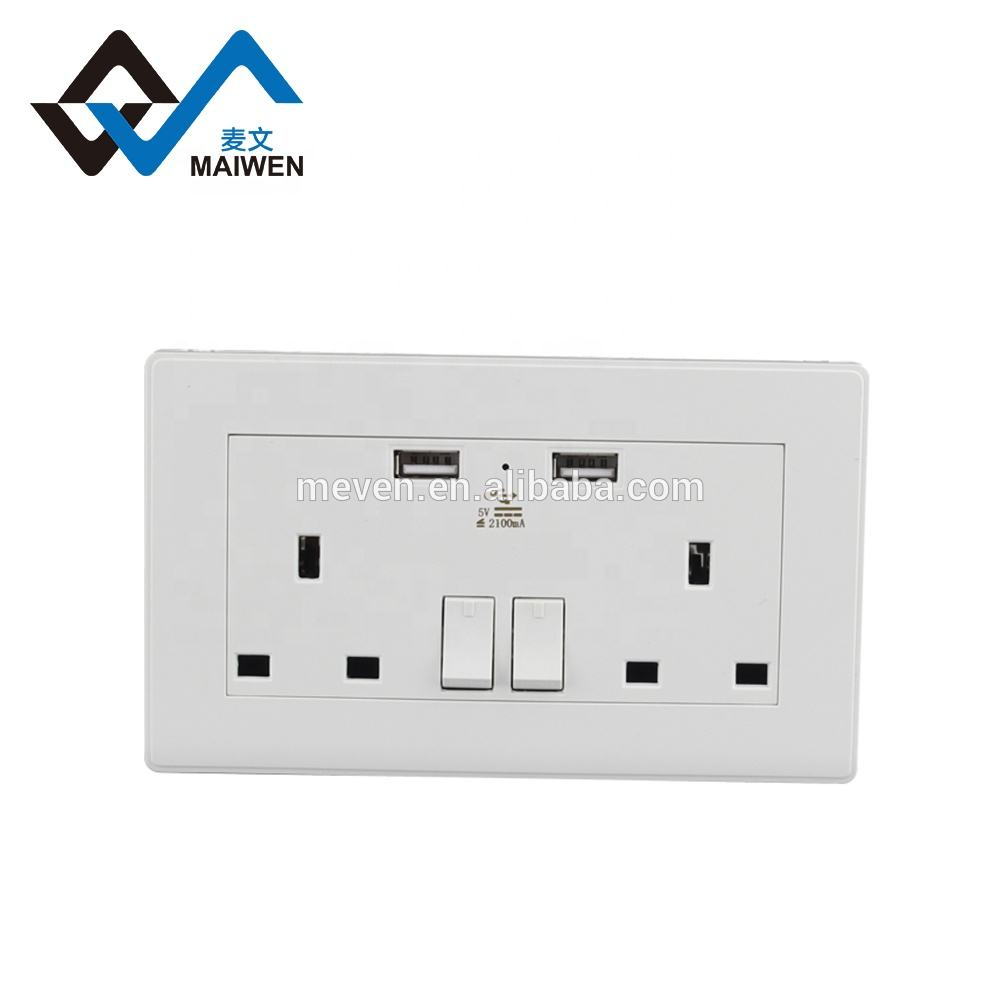 British General 13 A Double Switched Socket with 2 x USB Charger Port 5v 2.1a