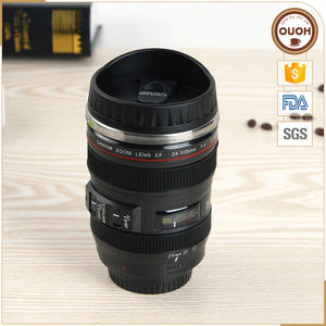 China Screw Lidded Camera Lenses Double Wall Coffee Mug