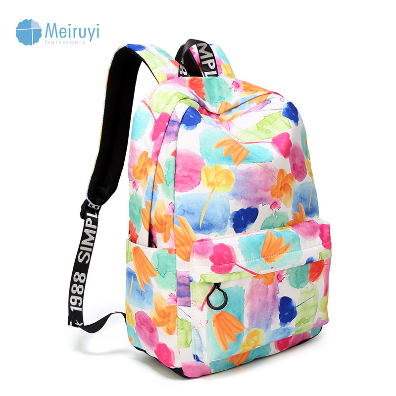OEM / ODM Wholesale custom high quality flower Print printing waterproof school backpack new design gril backpacks