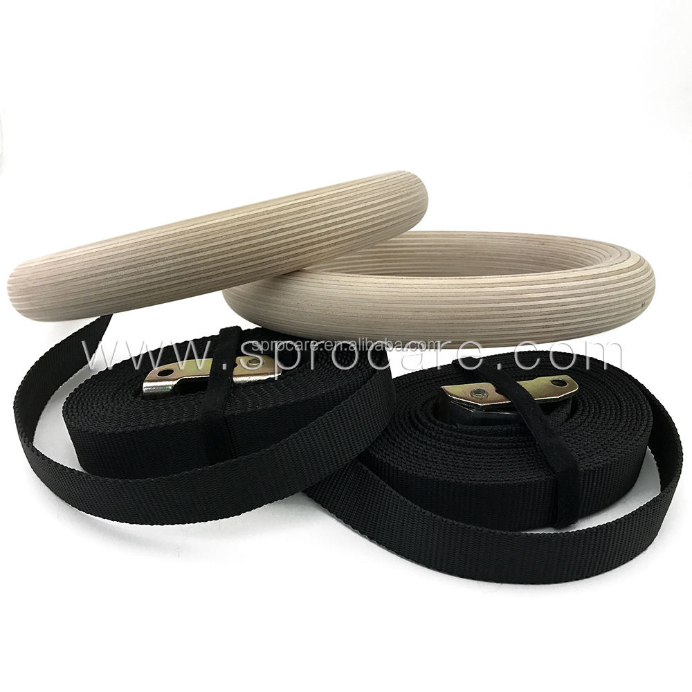 Sprocare Cross Fitness Gym Wooden Gymnastic Rings With Multicolor Straps