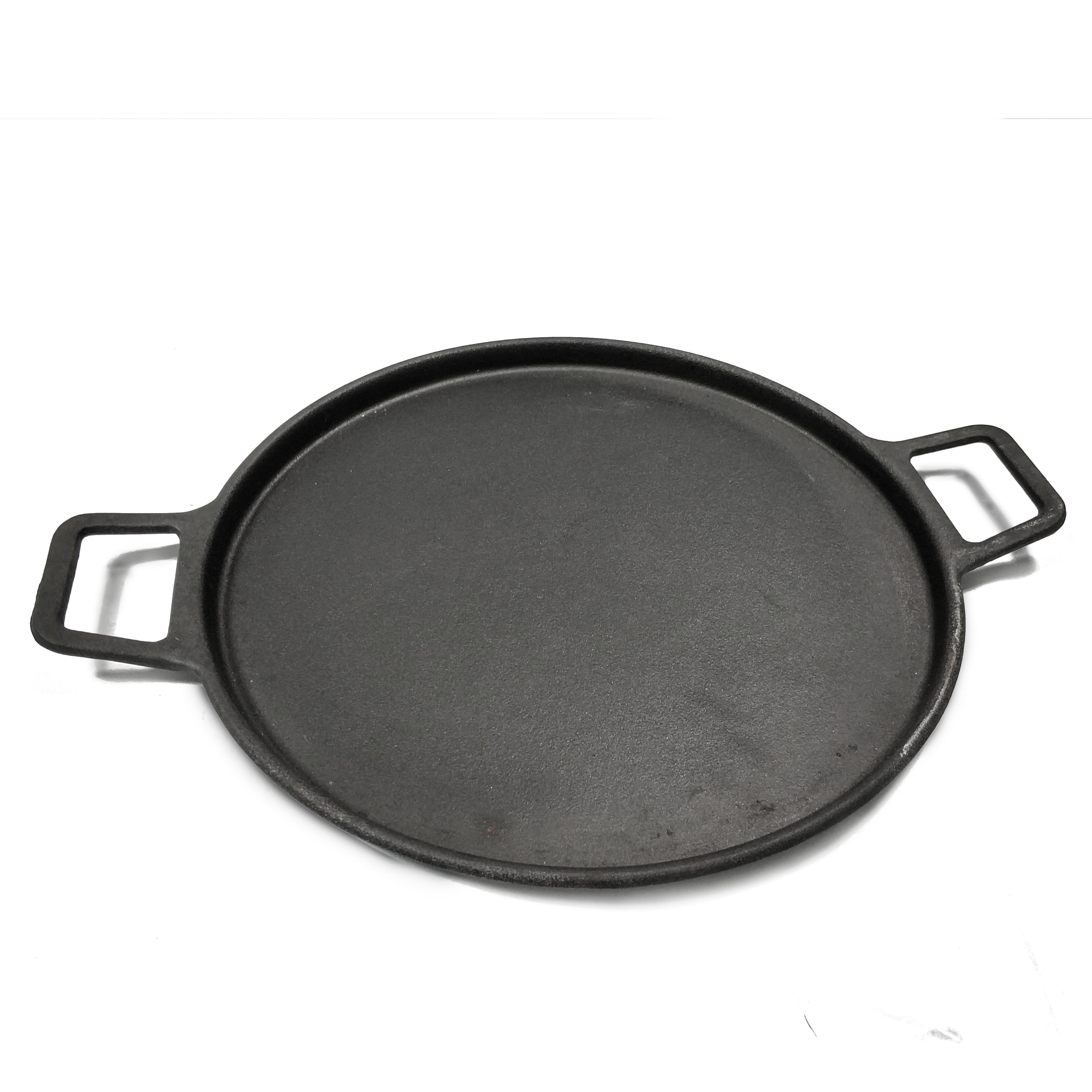 Heavy duty cast iron grill oven griddle BBQ roasting pan round big kitchen skillet for pancake pizza steak with lift handle
