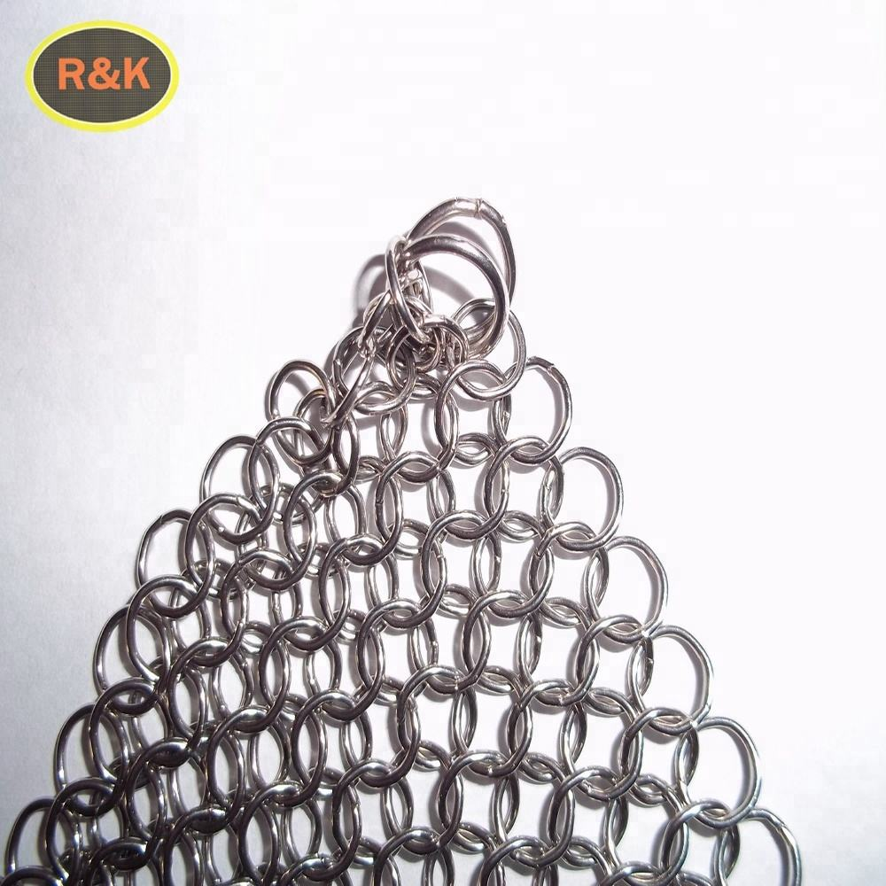 8*8 '' Stainless Steel Chainmail Scrubber Cast Iron Cleaner SS316 SS304