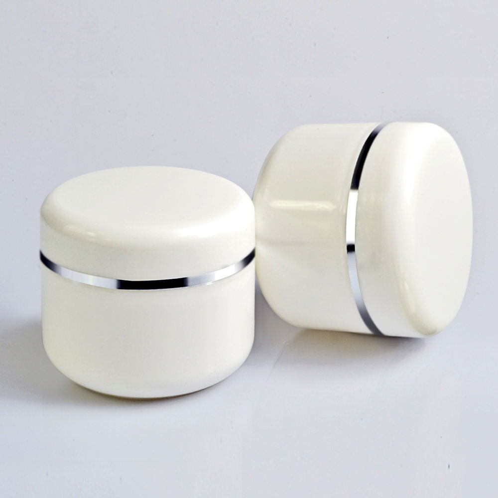 2019 New design pp empty cosmetics containers and packaging 20g 50g 100g 250g white plastic jars with silver edge