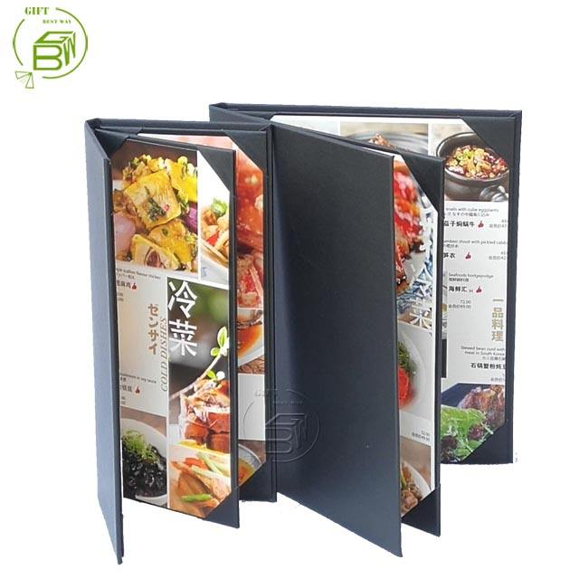 New style high quality corner panel black 3 panels 4 views restaurant menu cover with small MOQ