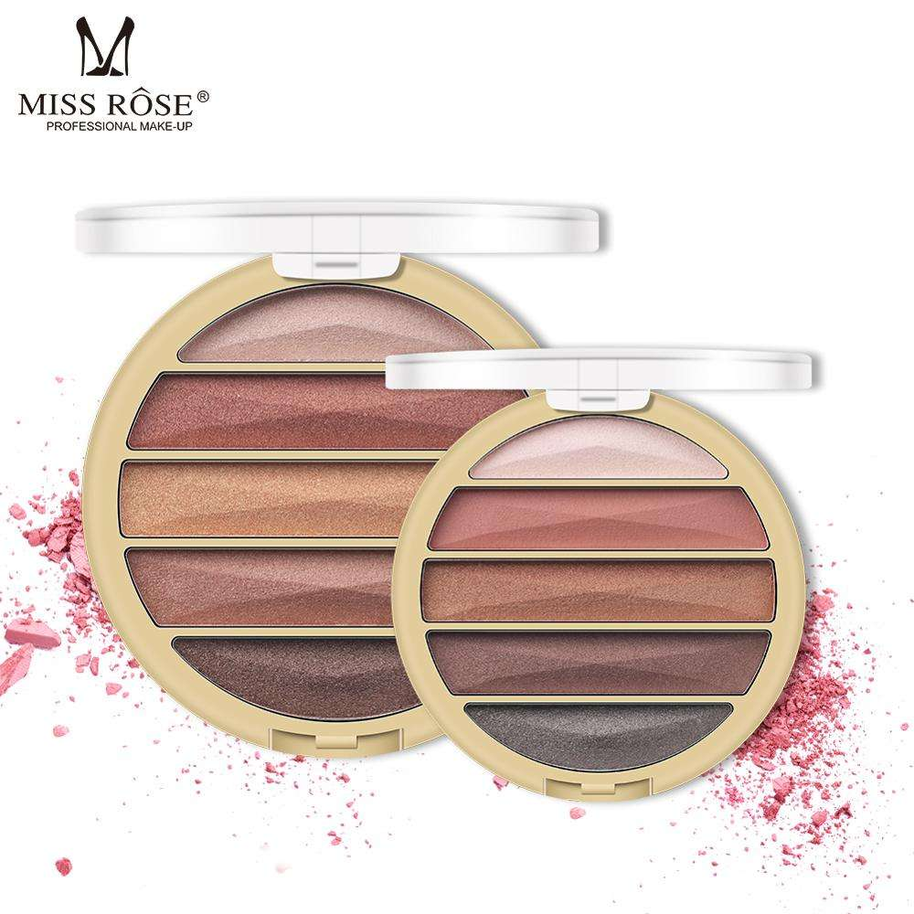 New MISS ROSE 5 Colors Pigmented Eye Shadow Palette Pearl Matte Eyeshadow Palette_eye Shadow Palette Manufacture