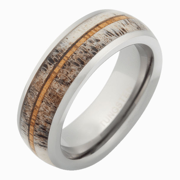 New velvet deer antler wedding rings wood tungsten ring for Men