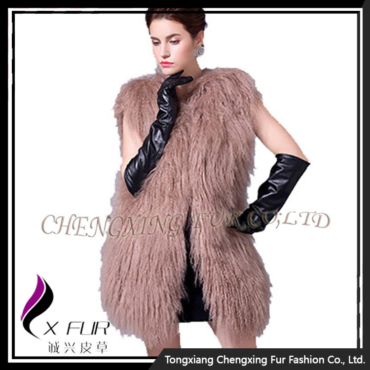 CX-G-B-101F Factory Direct Genuine Tibetan Sheep Fur Long Fur Vest
