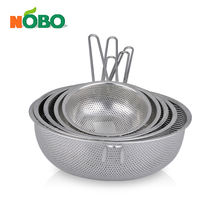 Stainless steel multifunction rice sifter colanders fruit basket strainer with long single handle