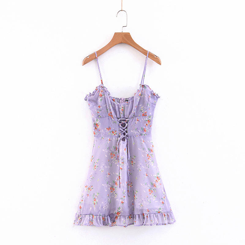 French style sexy spaghetti strap purple color floral printed chiffon dresses for ladies summer clothing