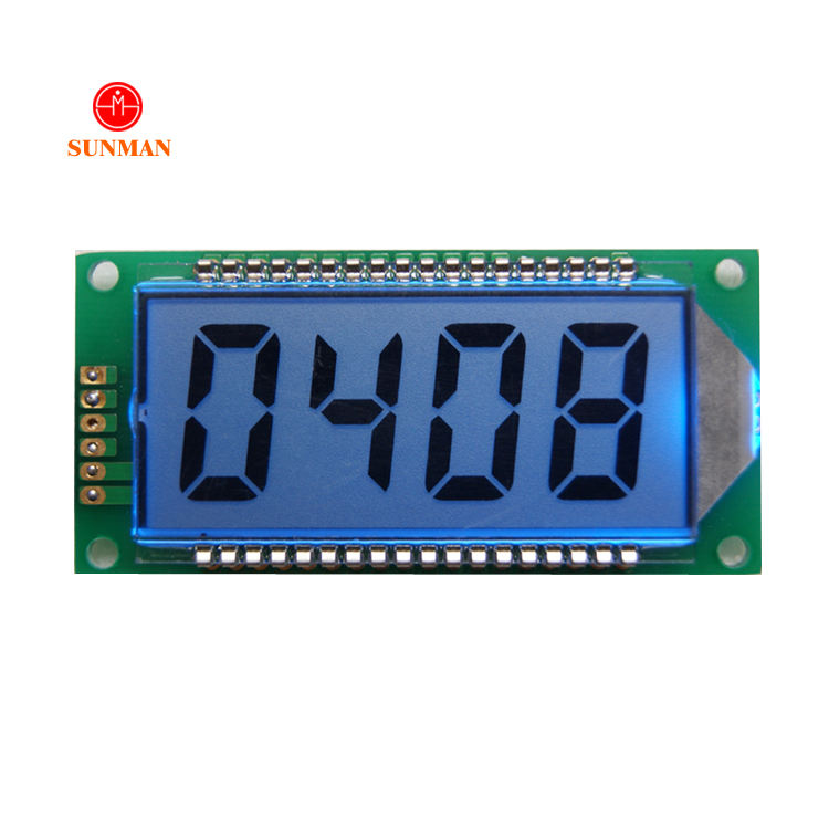 Blue backlight 7 segment lcd display 4 digit