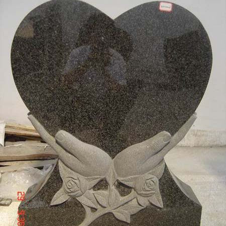 Factory Black Natural Stone Tombstone Price, Granite Tombstone Heart In Hands/
