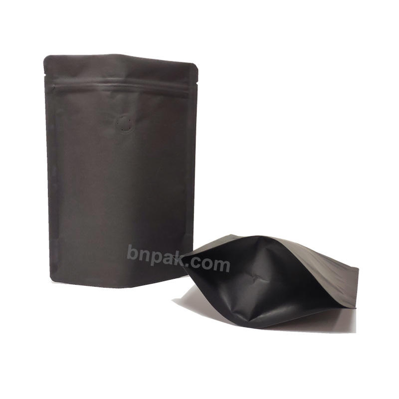 PLA/biodegradable wholesale matte black stand up pouches with zipper for food packaging