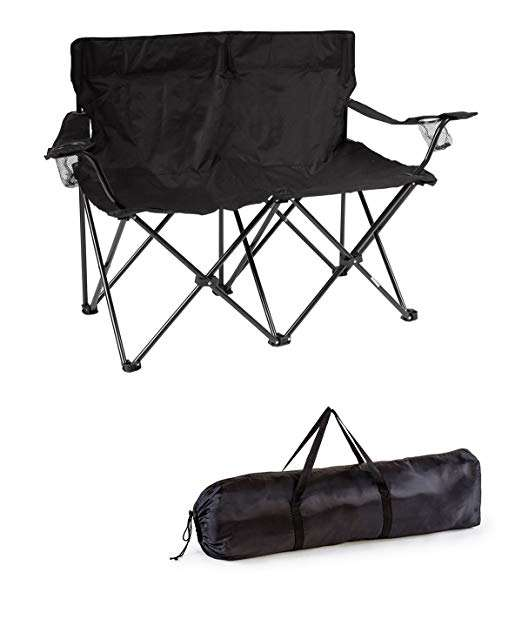 Loveseat Style Double Seat Beach Camp Quad Chair with Steel Frame