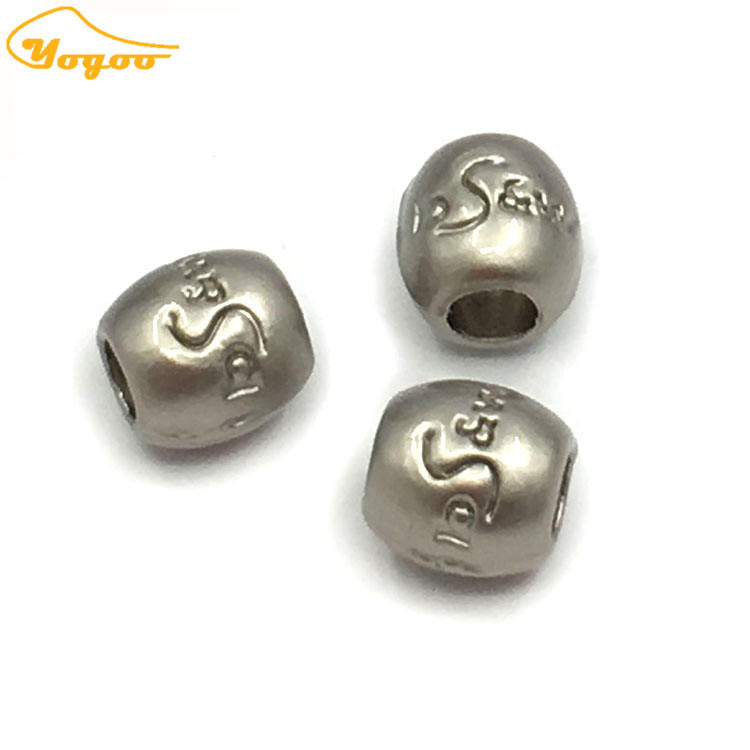 Decorative Small Round Custom Engraved Metal Letter Beads Logo Charms Beads for Bracelet