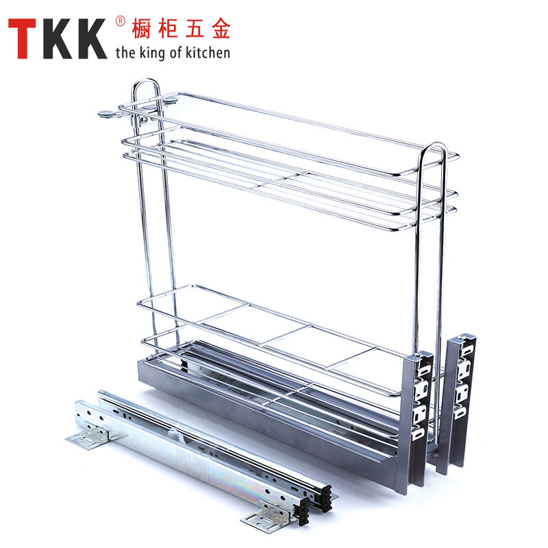 TKK kitchen cabinet storage wire basket pull out basket 2 layers simple storage iron stainless steel
