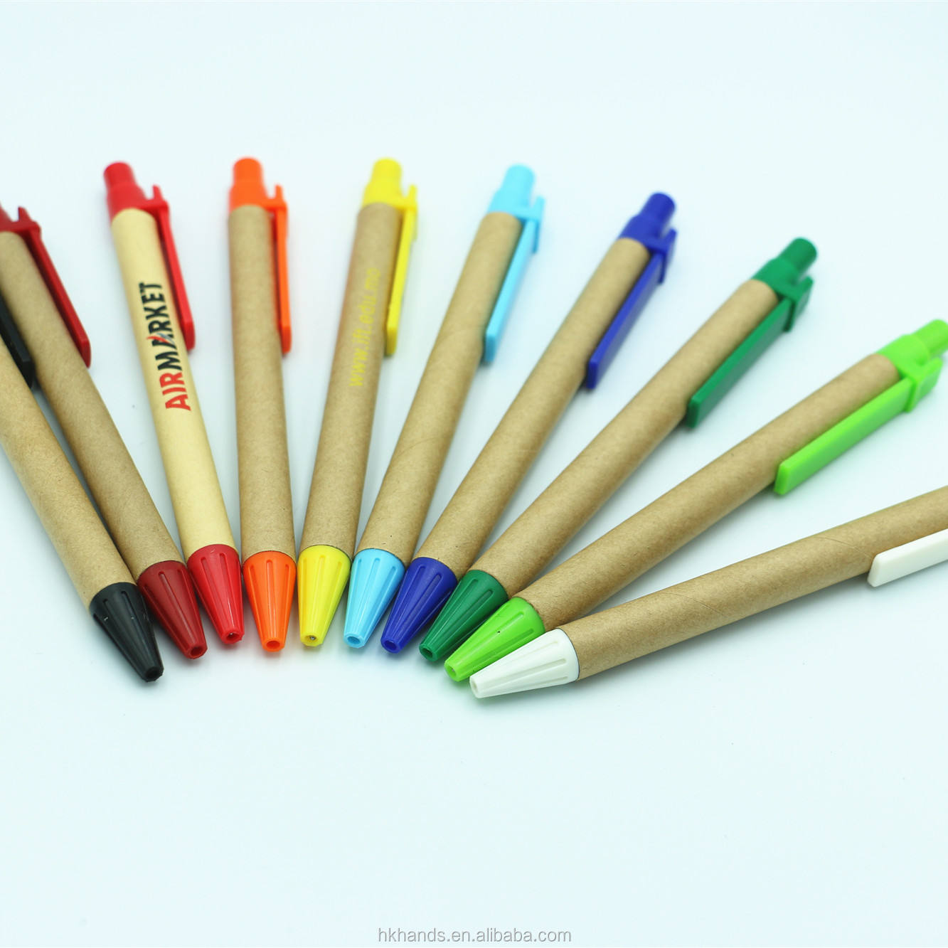 2019 Shenzhen factory Ball point pen made of bamboo Eco-friendly plastic clip cheap wood pen