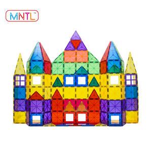 Educational DIY 100pcs plastic magnetic construction tile clear color 3d magnetic tiles building blocks toys for kids