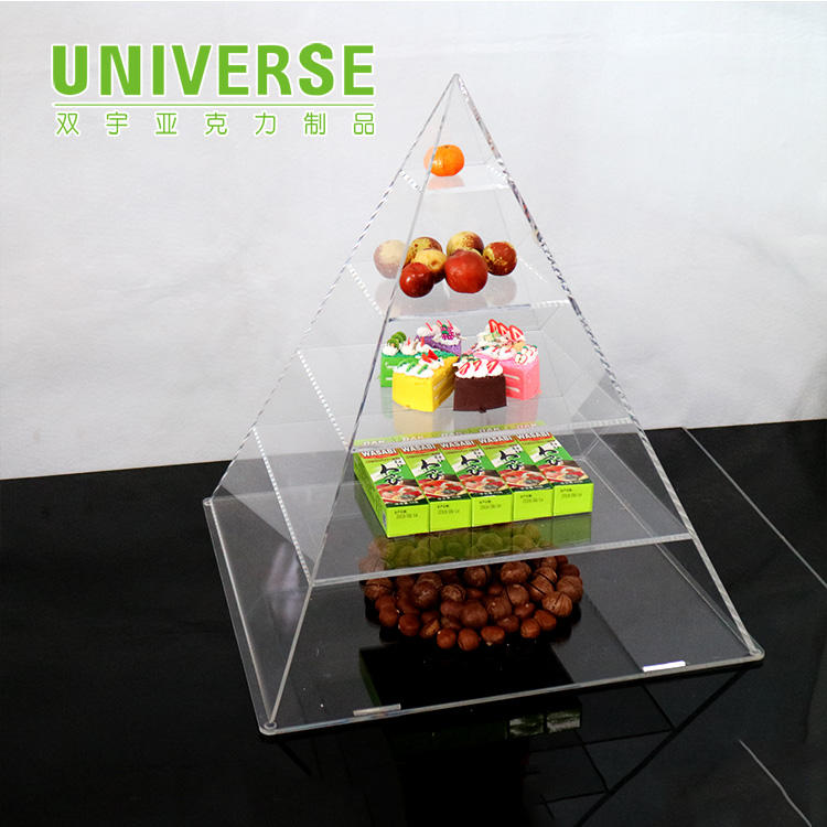 UNIVERSE custom candy shelf fruit supermarket dessert food small box display acrylic pyramid
