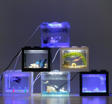 Small Fancy Tropical Fish Tank With Usb Led Lighting For Christmas Gift