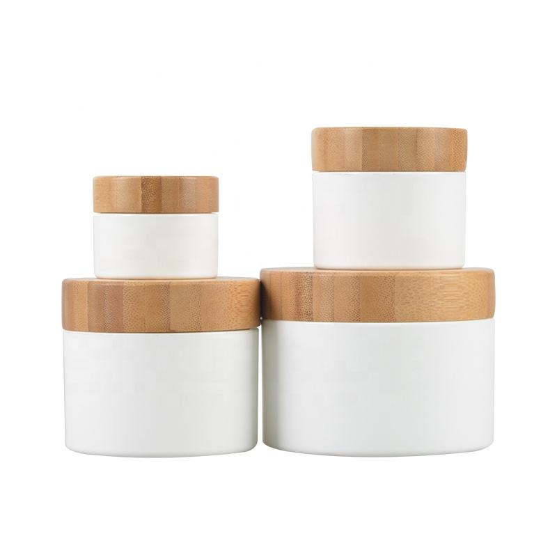 Eco friendly cosmetic container 5g 15g 30g 50g 100g weiß <span class=keywords><strong>kunststoff</strong></span> Creme Jar mit bambus deckel