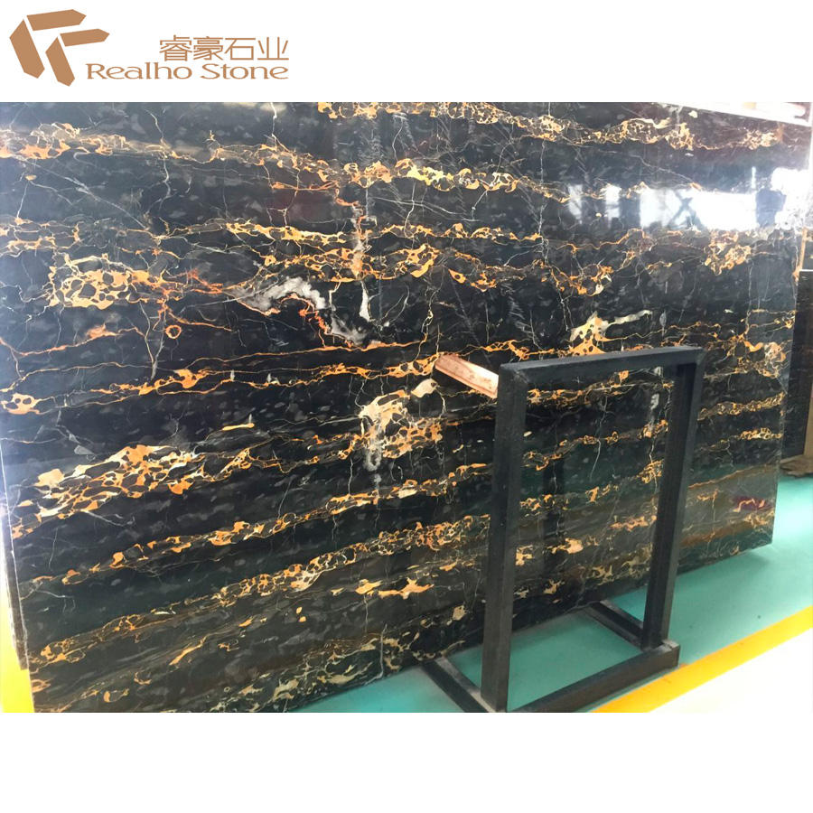 Italy Black Portoro Marble With Gold Veins