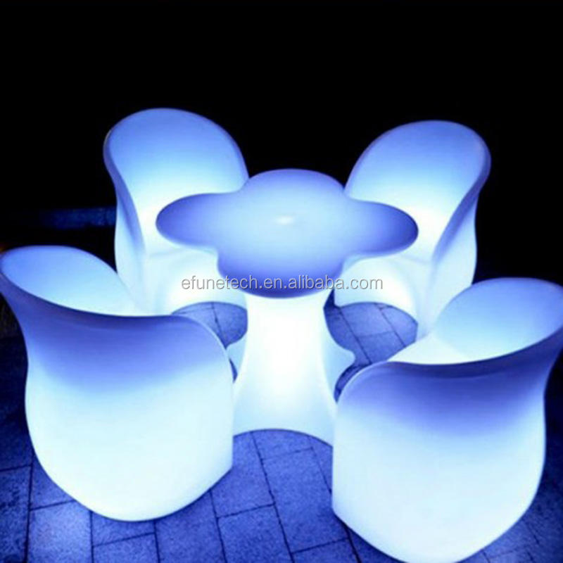 remote control rgb color changing indoor outdoor illuminated furniture set led lighted up coffee table