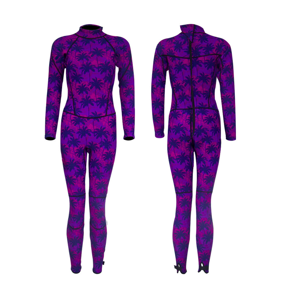 New Design 3mm Neoprene Overall Purple Printing Pattern Wetsuit for Woman
