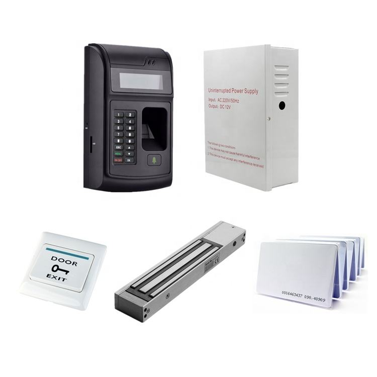 RFID Fingerprint access control kit 280kg Door Magnetic Lock, ZL type bracket, ID Card, 12V 5A power supply, No Touch Button