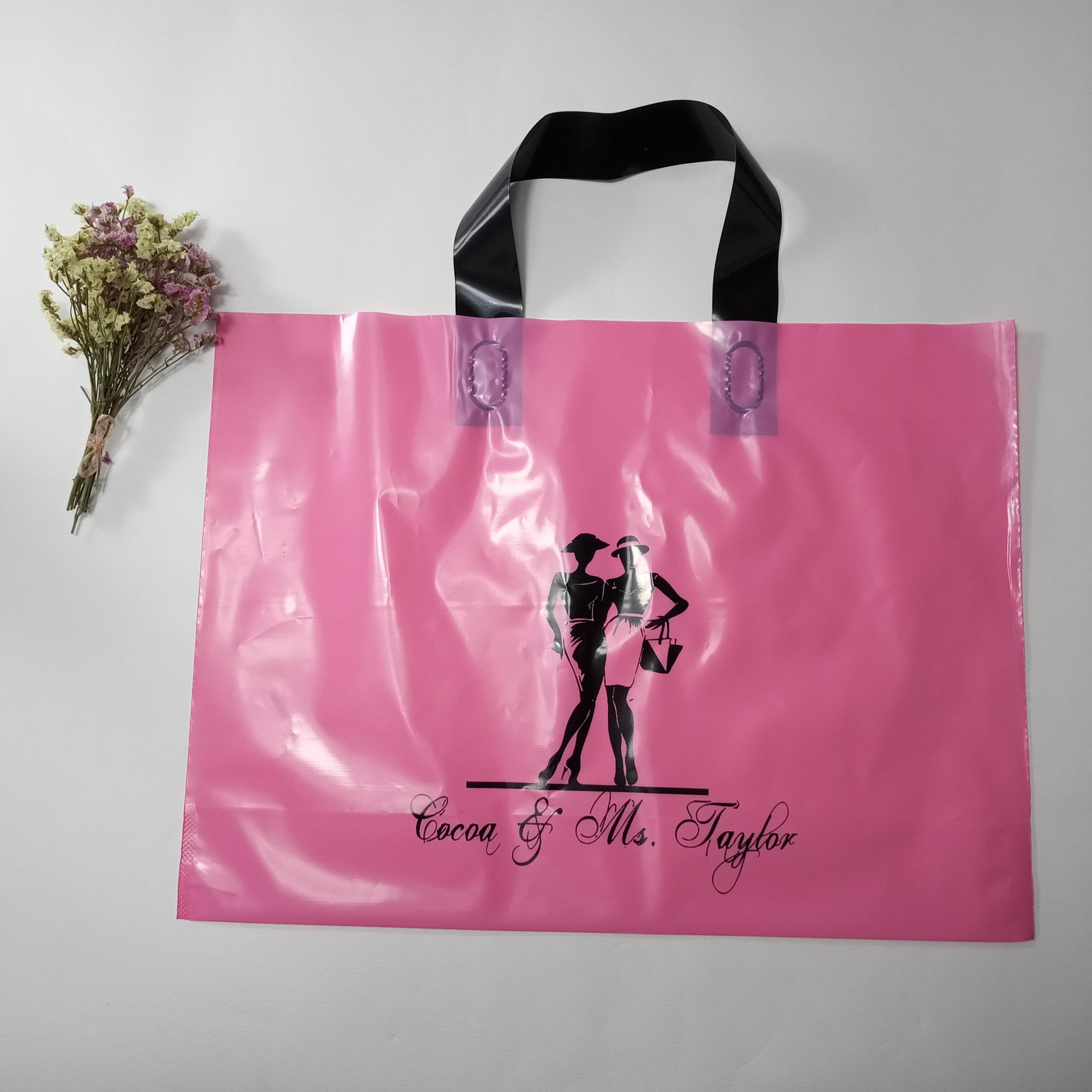 shopping t-shirt clothes custom printed clear plastic handle bag with logo and text printing